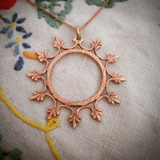 Handmade rose gold plated copper or yellow gold plated brass ninja star necklace by GloveJewellery for sale on http://hellopretty.co.za