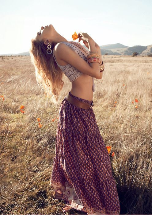 I love belly shirts with long flowing skirts. # boho # hipster # summer