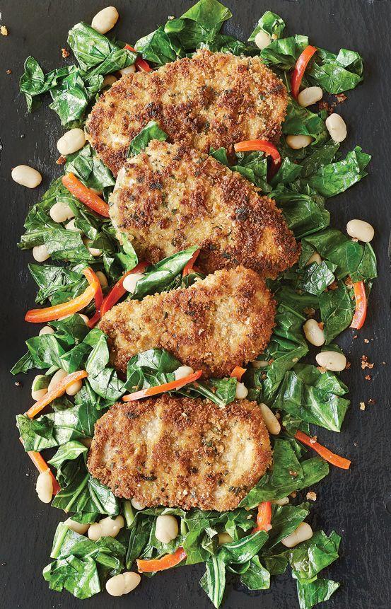 Panko-Crusted Chicken & Hot Greens