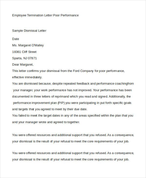 employee termination letter free amp premium templates format - dismissal letter