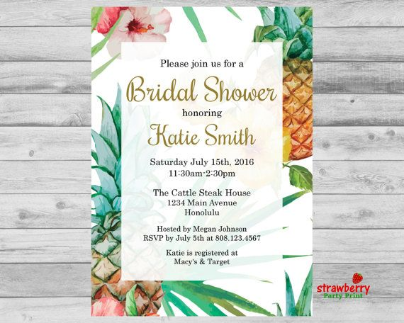 Tropical Bridal Shower Invitation, Luau Party Aloha Hawaiian Wedding Party Invite, Floral Hibiscus Pineapple, Digital Invitation