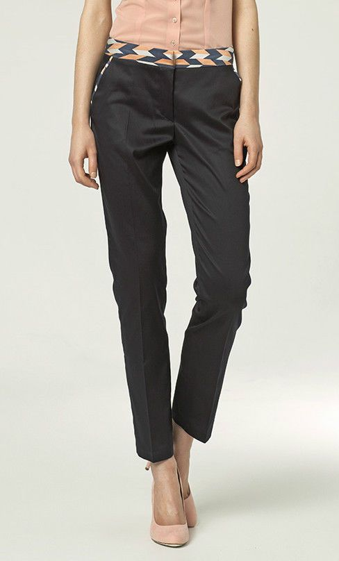 Pantalon mode femme tailleur Bleu marine taille Basse habillé Sd12 Nife  #Tailleurhabill