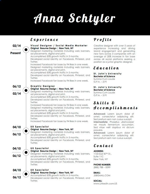 9 best Anna Schtyler Resume Template images on Pinterest Anna - professional business resume templates