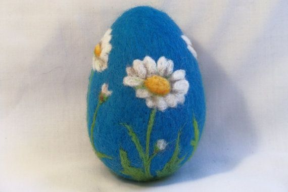 Large Needle Felted Easter Egg Daisies on Blue by syodercrafts