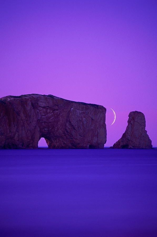 Canada, Quebec, Gaspe Peninsula, Perce Rock, With Crescent Moon   by Chris Cheadle