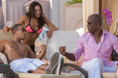 Fast & Furious 7: Ludacris (Tej Parker) Michelle Rodriguez (Letty) & Tyrese Gibson (Roman Pearce)