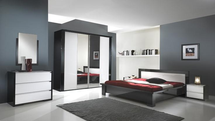 Chambre à coucher moderne !! Meubles laqués noir et blanc ...
