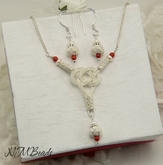 Fine Silver Love Knot Necklace With Fresh Water by NMBeadsJewelry