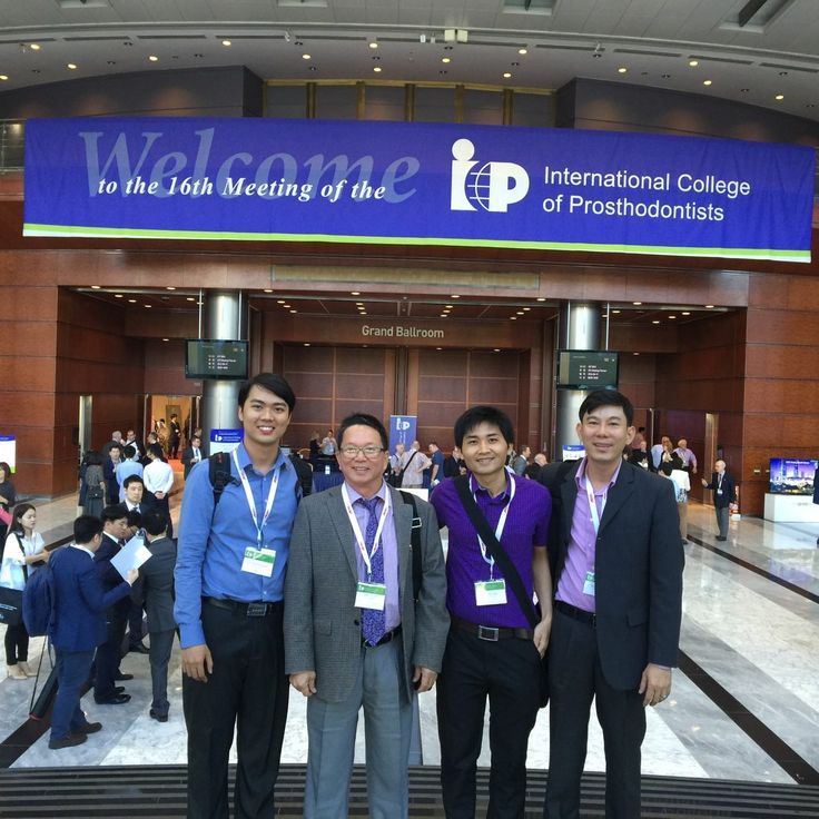 Do Dinh Hung DDS. PhD, Ngo Cong Uan DDS, Nguyen Hoang Loc DDS and Mr Do Danh Toan at the International College of Prosthodontists, Seoul.