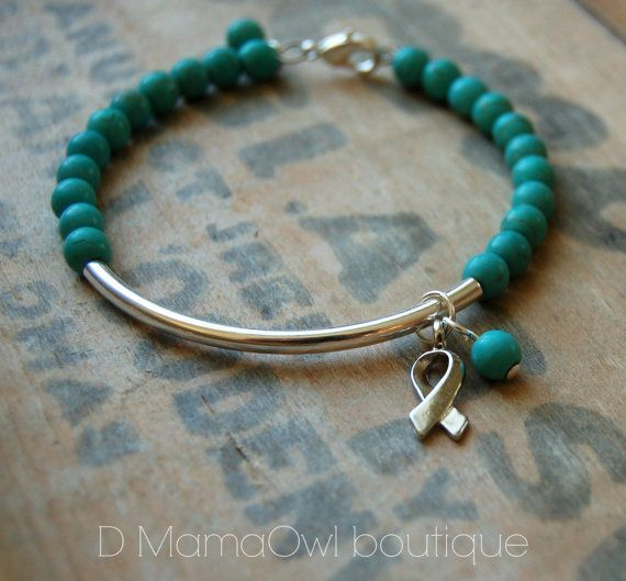 Cervical Cancer Awareness Turquoise memory wire Bracelet