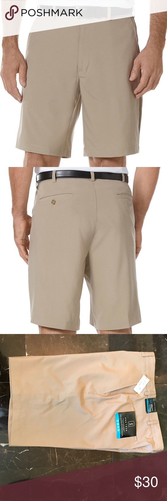 PGA Tour Performance Shorts These stylish shorts from the PGA tour collection keep you dry and on the move with moisture-wicking technology and mechanical stretch. Features: UPF 50+, flat front, 10-inch inseam, moisture-wicking, mechanical stretch, two front pockets and two back back welt pockets. PGA Tour Shorts Flat Front
