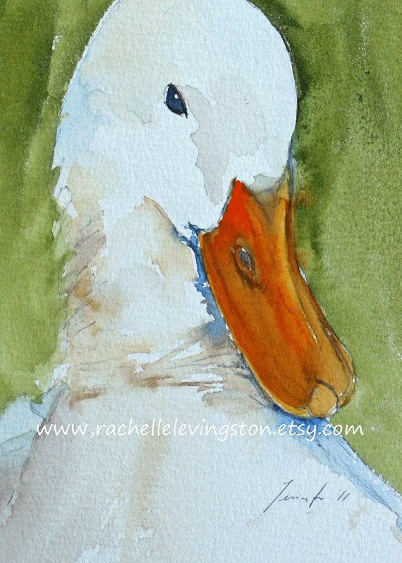 White Duck PRINT Children wall art Duck art by rachellelevingston, $12.00