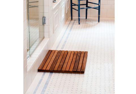 Teak Shower Mat    Teak is known as one the world's most water-resistant woods. Crafted after the style of traditional Asian bath mats, our Teak Shower Mat is naturally beautiful…and naturally resistant to all manner of mold and mildew. $89.99