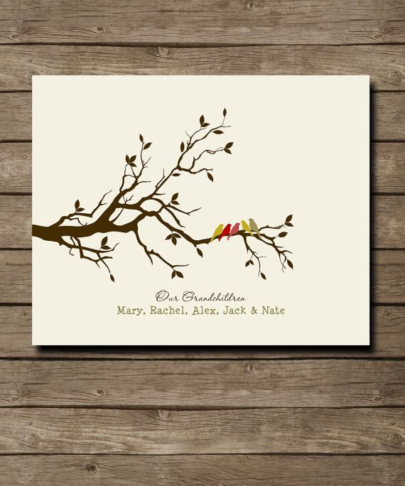 "Gift for GRANDPARENTS,Birthday Anniversary Gift from Grandkids - Family Tree with grand childrens names - Grandma & Grandpa gift, 8 x 10"". $20.00, via Etsy."