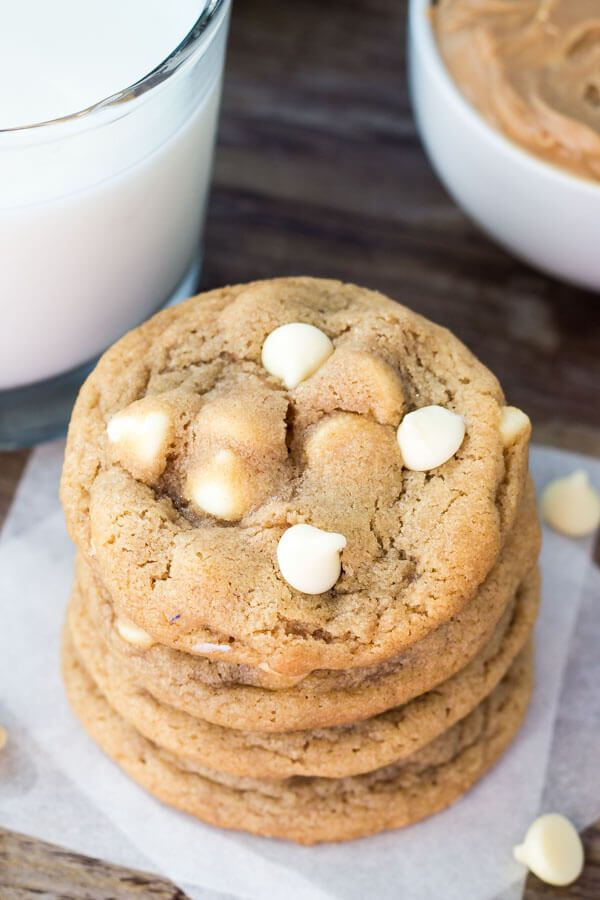 Soft, chewy and big on peanut butter taste - these peanut butter white chocolate chip cookies taste like a white chocolate peanut butter cup.