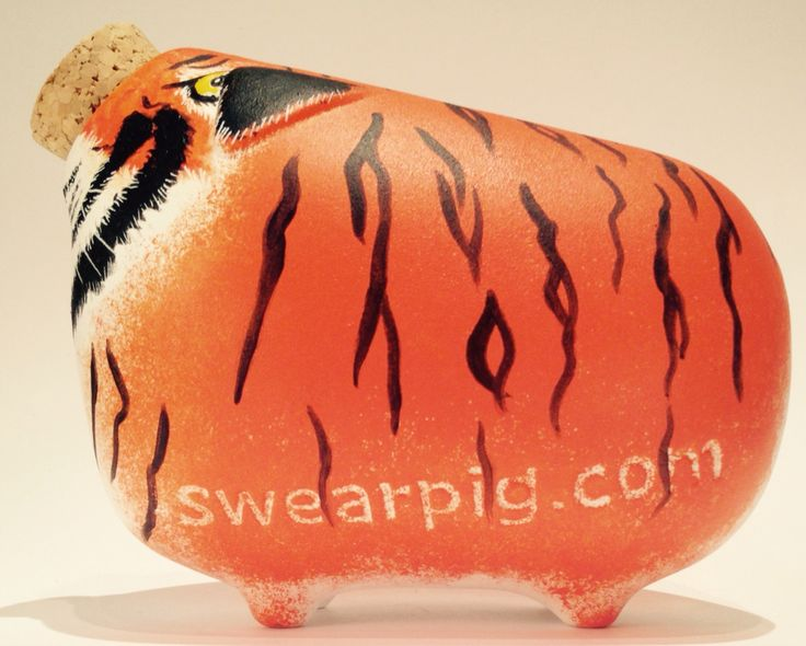 Hand painted piggy banks. SwearPig - #TigerPig by Sharon Stone. SwearPig Charity eBay Launch Starts April 13th 2015