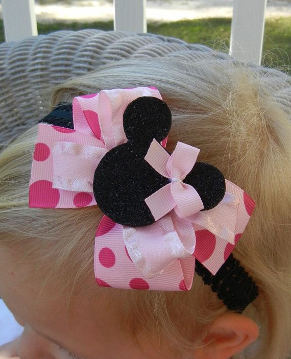 Pink Minnie Mouse Hair Bow by CrystalNMeDesigns on Etsy, $5.25 Love this!!!! When we go to Disney! Order yours!