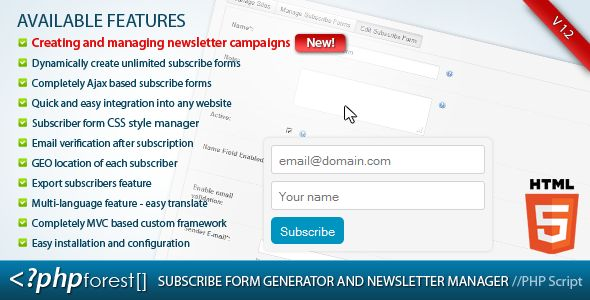 Subscribe forms generator and subscribers manager http://codecanyon.net/item/subscribe-forms-generator-and-subscribers-manager/3958343?ref=damiamio Change Log Version 1.2 Create and manage newsletters campaigns NEW! Send newsletters campaigns to specific users groups Enable newsletter campaigns feature for all registered users Version 1.1 - user registration - administration account - user management interface - updated the web UI and made it better organized - updated the default styles of…