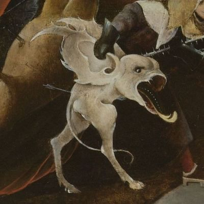 creatures from the mid-panel of Triptych of Temptation of St. Anthony by Hieronymus Bosch, c. 1530-1600.