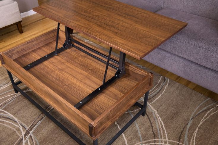Design plans for a coffee table with lift top