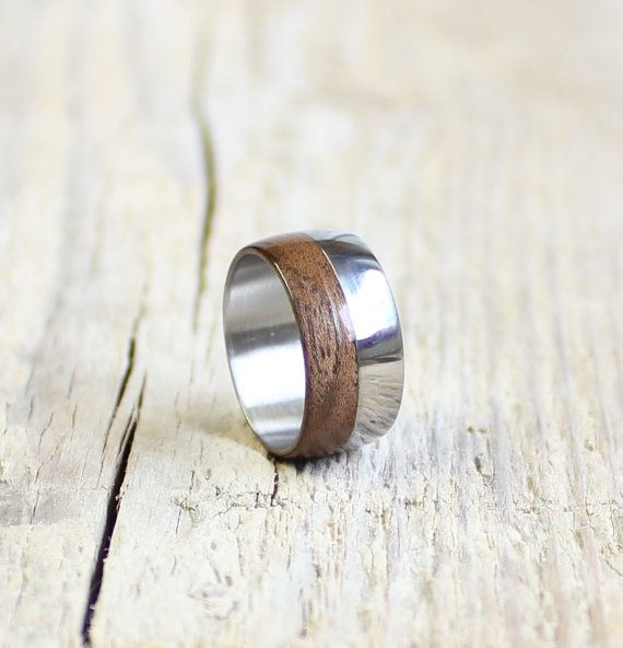 Wood and stainless steel ring unisex wood ring by agatechristina, $25.00