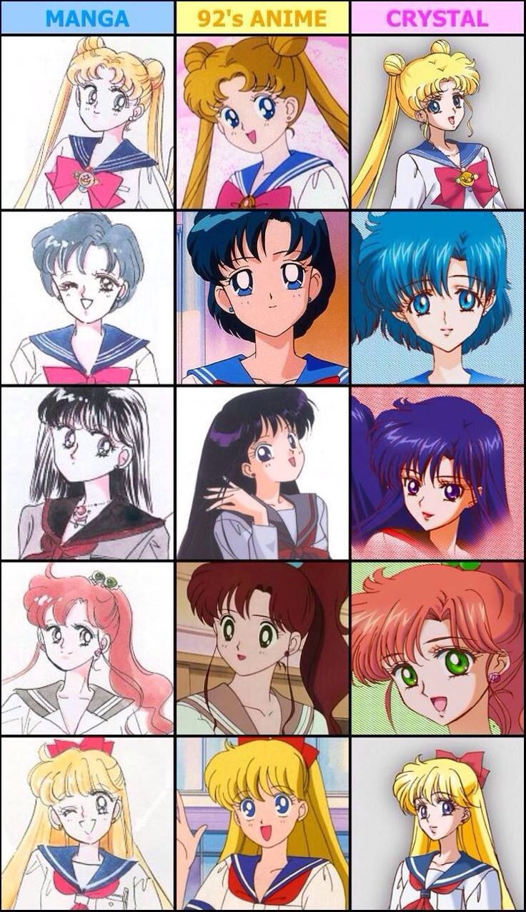 Sailor Moon comparisons m: manga, 90s, Crystal. #sailormoon #scouts #pretty