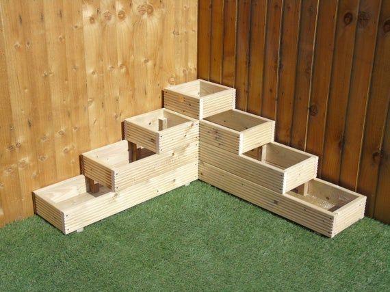 X Large 4 Tiered Corner Garden Level Steps Wooden Decking Patio