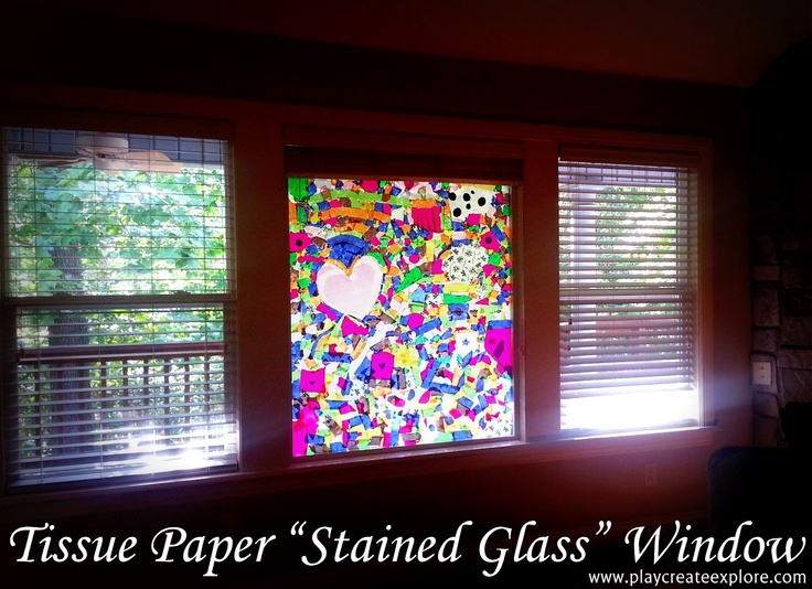 "Play Create Explore: Tissue Paper ""Stained Glass"" Window... art room window?"