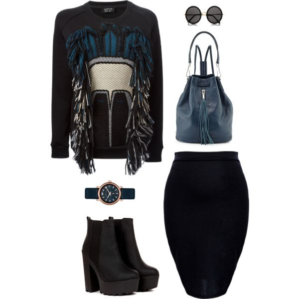 """Black and blue"" by martab on Polyvore"