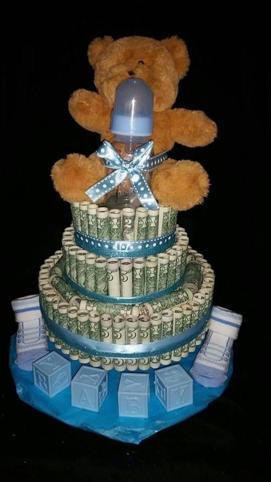 Real money cake for boy  baby shower gift card corporate
