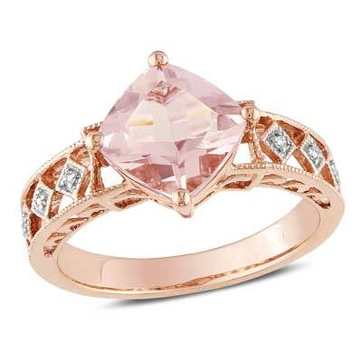 8.0mm Cushion-Cut Morganite and Diamond Accent Ring in 10K Rose Gold  - Peoples Jewellers