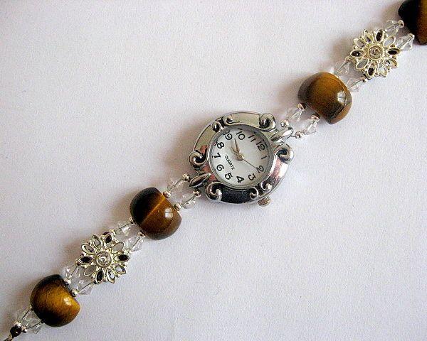 Bratara cu ceas de cuart, ochi de tigru, cristale si argint tibetan - idei cadouri femei