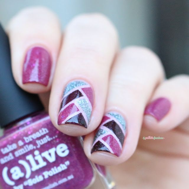 Picture Polish (A)live by Sois polish // stripping tape braid nail art