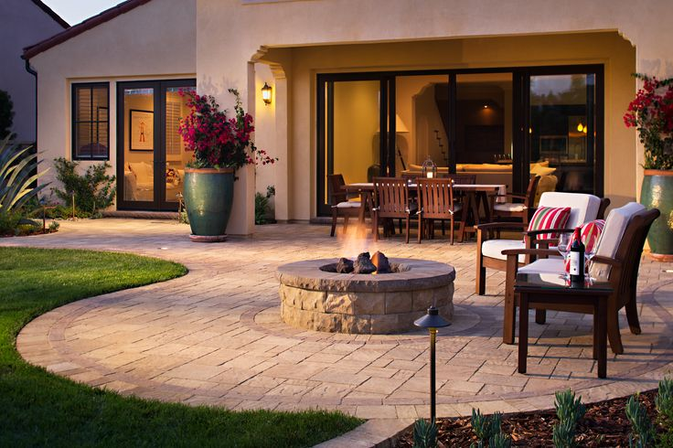 Prick paver patio with fire pit