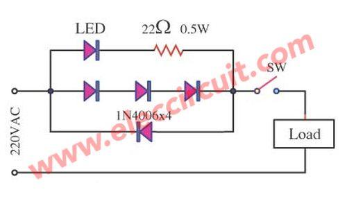 simple ac mains voltage indicator circuit with led electronics rh pinterest com AC Noise Filter Circuit AC Noise Filter Circuit