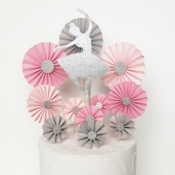 Cake topper set 39 glitter silver ballerina rosettes for Ballerina cake decoration