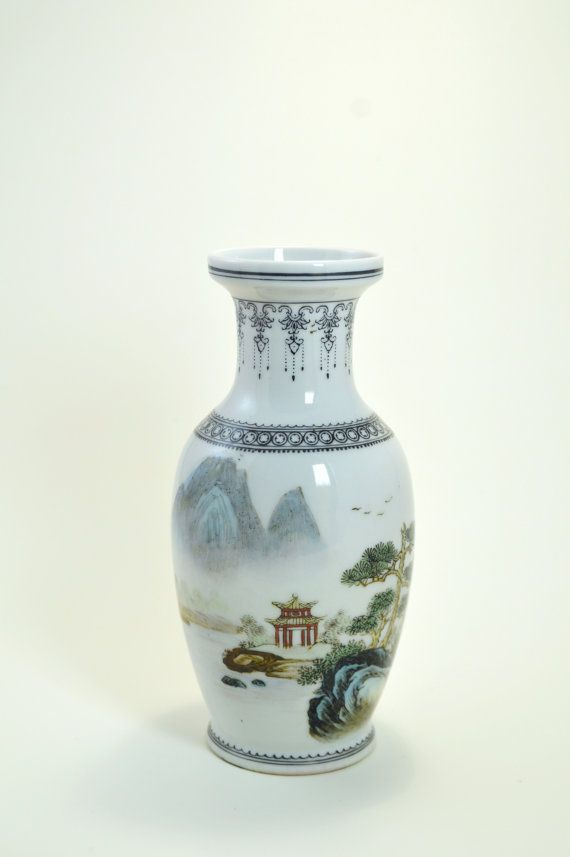 Vintage Chinese HandPainted Porcelain Vase by MinistryOfArtifacts