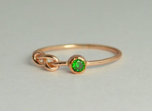 Solid 14k Rose Gold Emerald Infinity Ring