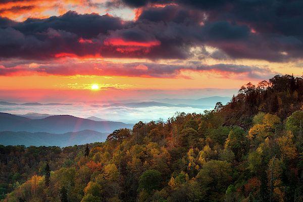 Blue Ridge Parkway North Carolina Autumn Sunrise Landscape Photography By Dave Allen Sunrise Landscape Landscape Photography Fine Art Landscape Photography