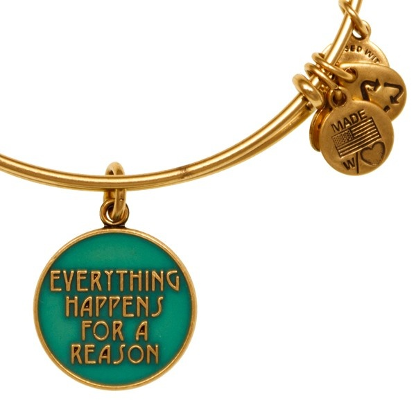Alex and Ani Everything Happens for a Reason Expandable Wire Bangle Clover - Russian Gold