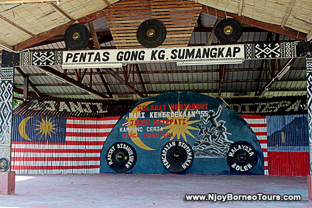 Stage for gong performance at Kampung Sumangkap