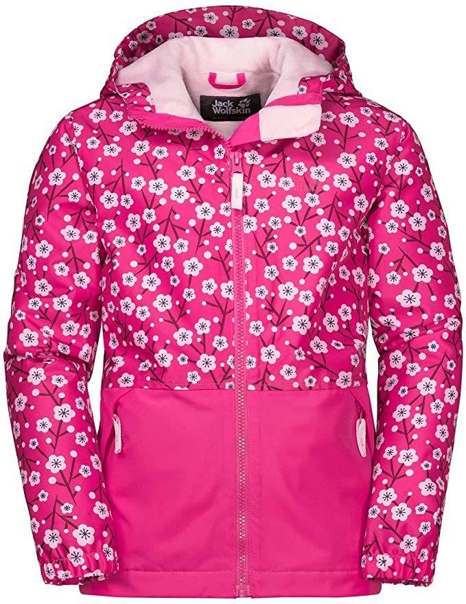Jack Wolfskin Kinder Snowy Days Print Jacke Pink Fuchsia Allover In 2020 Bekleidung Jacken Winterjacken