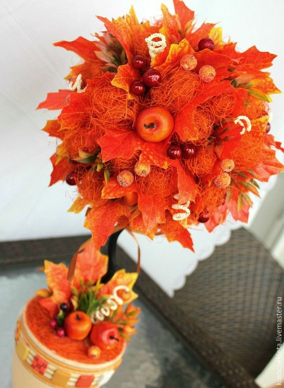 Купить Осенний топиарий - рыжий, оранжевый, осенние краски, осенний аксессуар, осенний топиарий