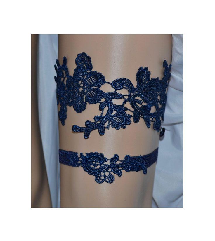 Wedding garter set, Royal Blue Garter, Rhinestone Royal Blue ...