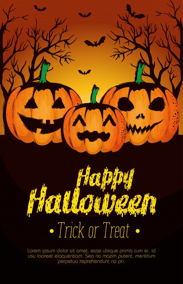 Halloween 2020 Poster Download Download Happy Halloween Poster With Pumpkins for free in 2020