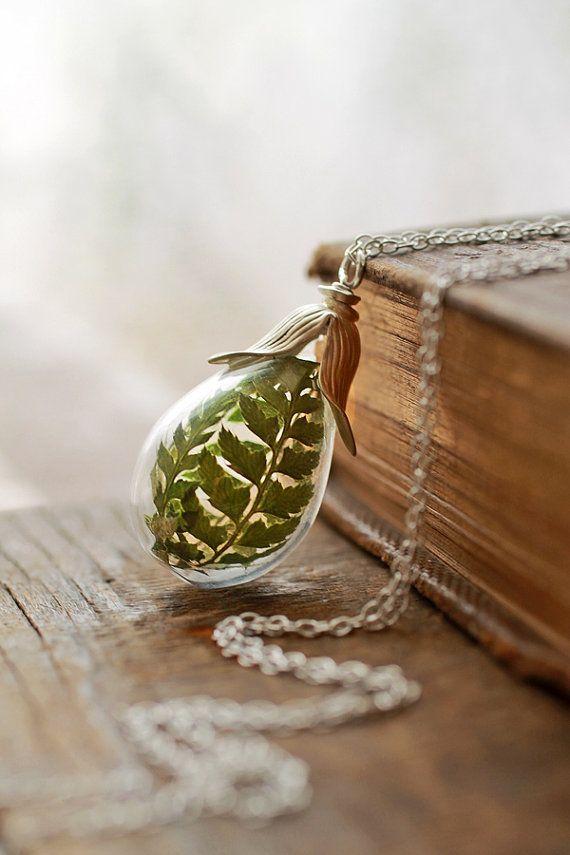 Silver fern necklace , real flower pendant , sterling silver , living locket, long glass locket, terrarium jewellery,  woodland , moss green...