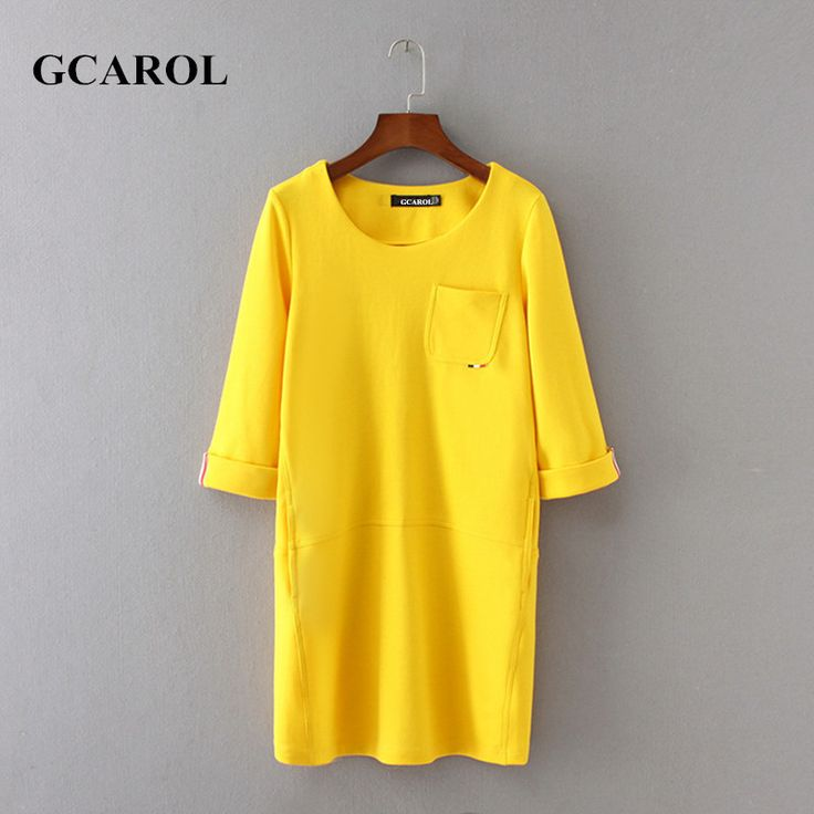 GCAROL 2017 Women Knitting Rome Cloth Dress Half Sleeve Straight Cutting Yellow Dress Fashion Casual Spring Autumn Basic Dress