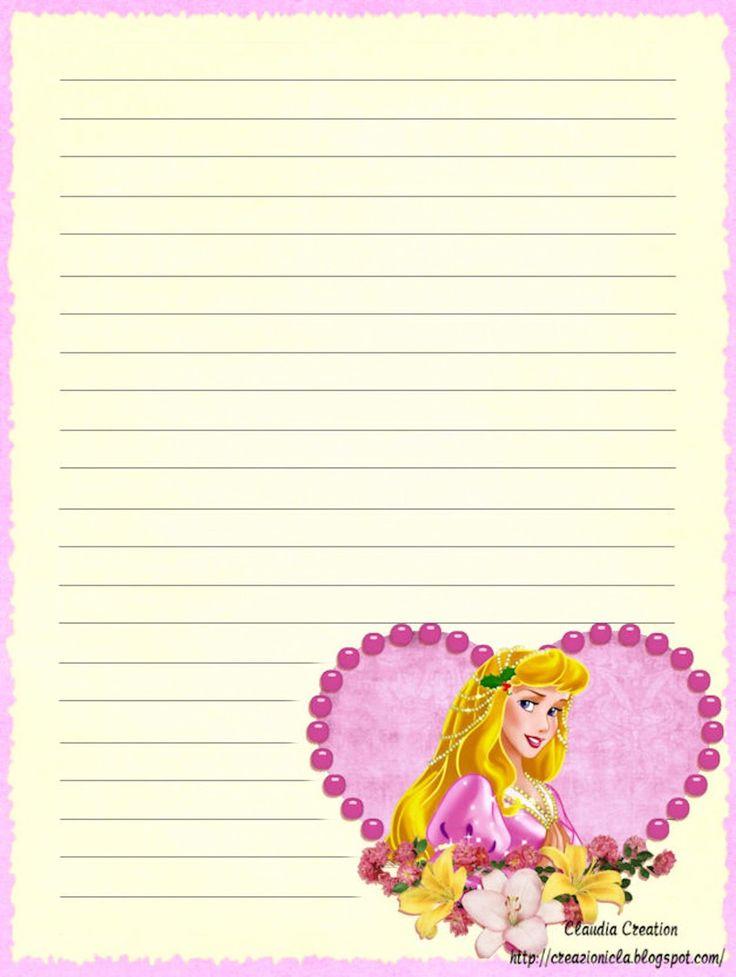 il mio angolo creativo: Carta da lettere Principessa Aurora