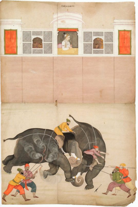 Two Elephants Fighting in a Courtyard Before Muhammad Shah by Nainsukh - ca. 1730-40