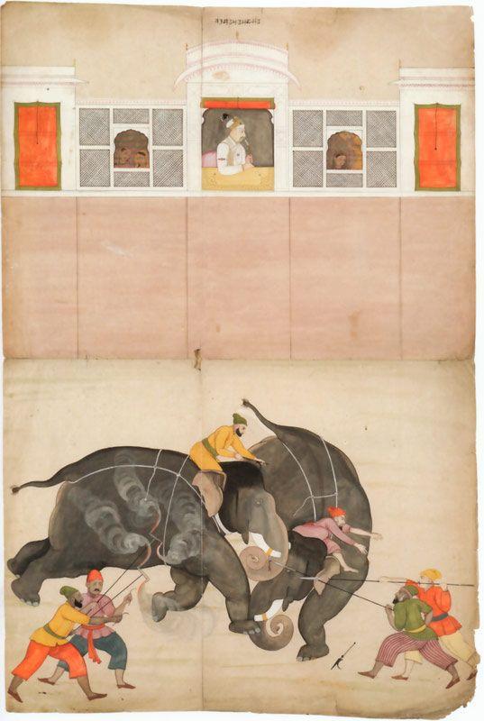 Nainsukh Mughal elephants